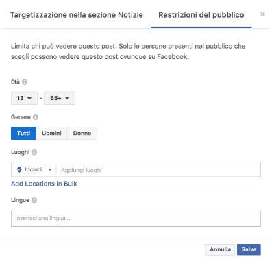 restrizione pubblico - post multilingua
