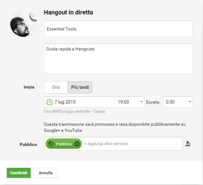 hangouts diretta settings