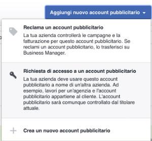 richiesta di accesso account pubblicitario