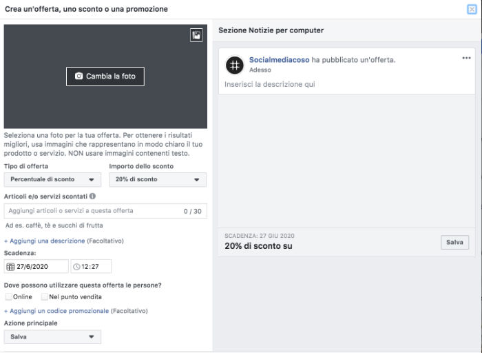 Crea un'offerta su Facebook